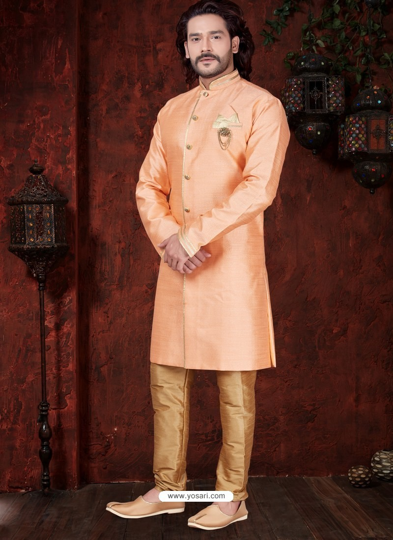 Light Orange Readymade Designer Indowestern Sherwani For Men
