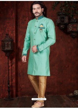 Aqua Mint Readymade Designer Indowestern Sherwani For Men