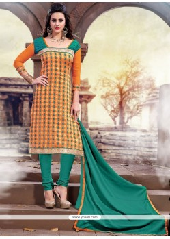 Dilettante Orange And Sea Green Churidar Designer Suit
