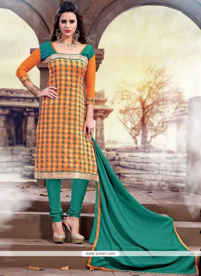 Dilettante Orange And Sea Green Churidar Designer Suit