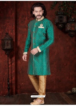 Teal Readymade Designer Indowestern Sherwani For Men