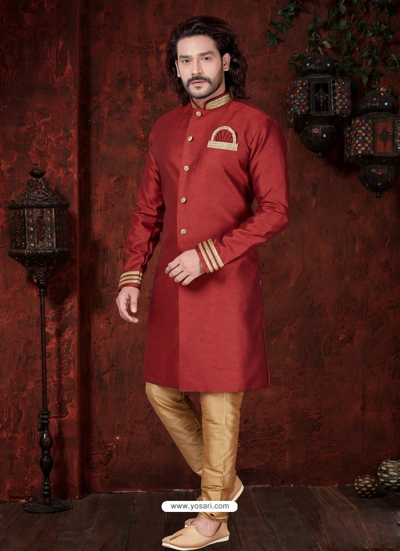 Red Readymade Designer Indowestern Sherwani For Men