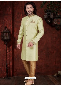 Pista Green Readymade Designer Indowestern Sherwani For Men