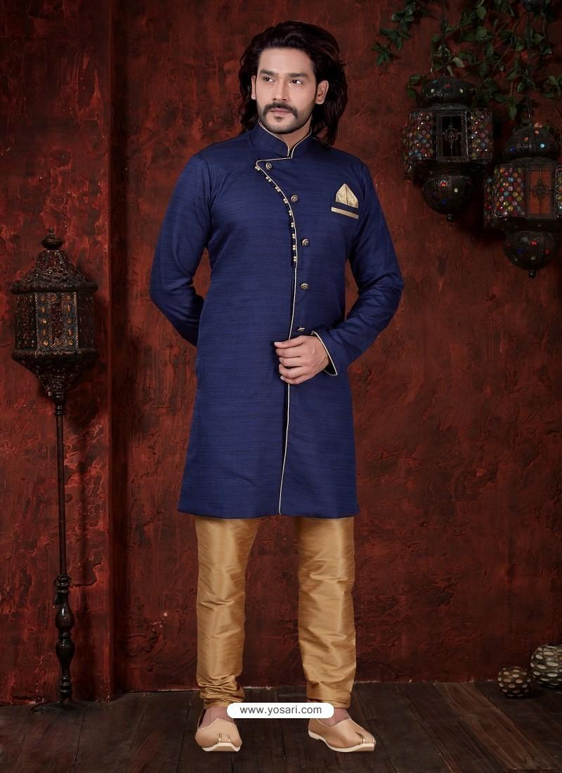Dark Blue Readymade Designer Indowestern Sherwani For Men