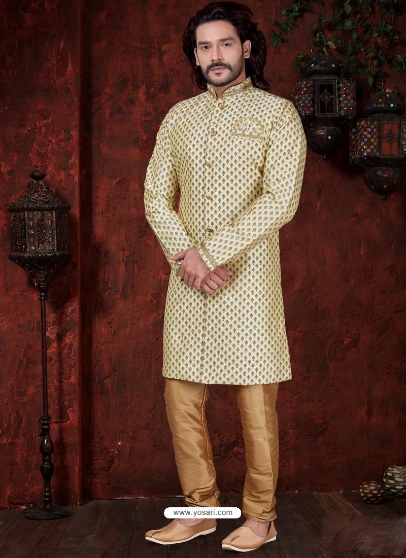 Cream Readymade Designer Indowestern Sherwani For Men