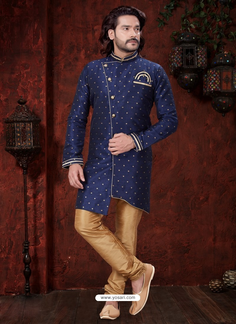 Navy Blue Readymade Designer Indowestern Sherwani For Men