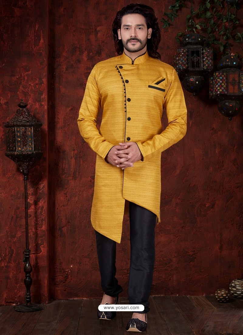 Yellow Readymade Designer Indowestern Sherwani For Men