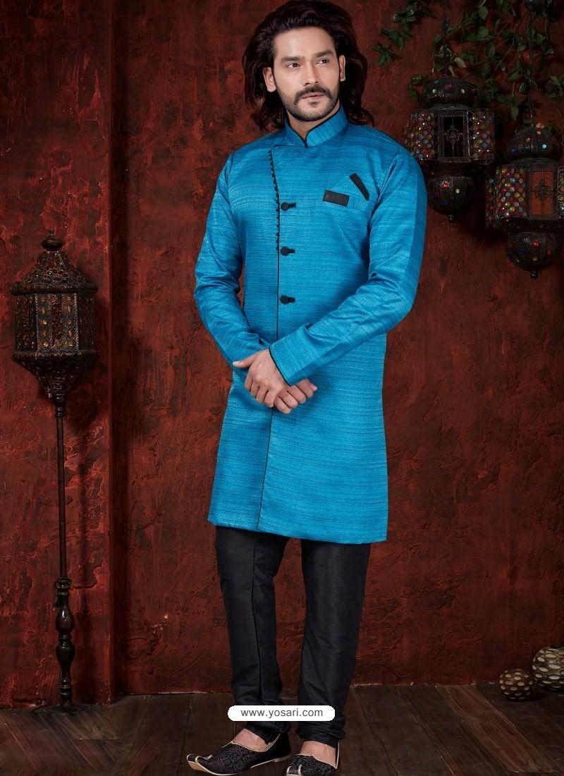 Blue Readymade Designer Indowestern Sherwani For Men