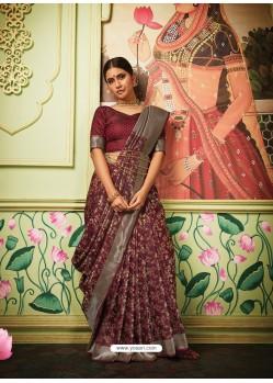 Maroon Latest Designer Party Wear Banarasi Silk Sari