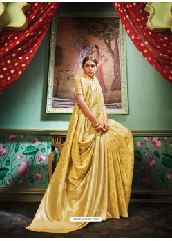 Yellow Latest Designer Party Wear Banarasi Silk Sari