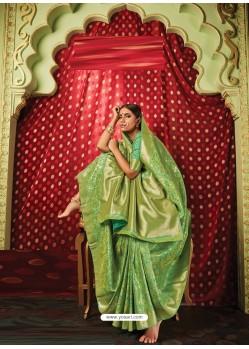 Green Latest Designer Party Wear Banarasi Silk Sari