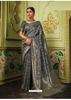 Grey Latest Designer Party Wear Banarasi Silk Sari