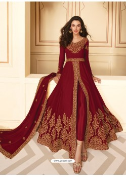 Maroon Dazzling Heavy Designer Real Georgette Party Wear Anarkali Suit