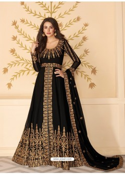 Black Dazzling Heavy Designer Real Georgette Party Wear Anarkali Suit