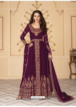 Deep Wine Dazzling Heavy Designer Real Georgette Party Wear Anarkali Suit