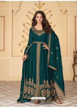 Teal Dazzling Heavy Designer Real Georgette Party Wear Anarkali Suit