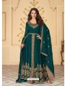 Teal Dazzling Heavy Designer Real Georgette Party Wear Anarkali Suit