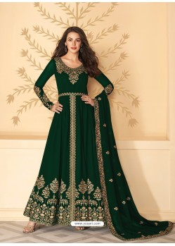 Dark Green Dazzling Heavy Designer Real Georgette Party Wear Anarkali Suit