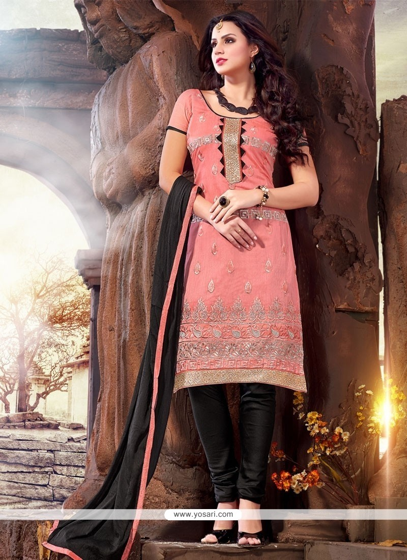 Conspicuous Chanderi Embroidered Work Churidar Designer Suit