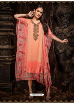 Light Orange Stunning Designer Party Wear Chiffon Kaftan Style Kurti