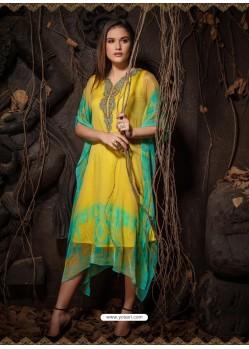 Yellow Stunning Designer Party Wear Chiffon Kaftan Style Kurti