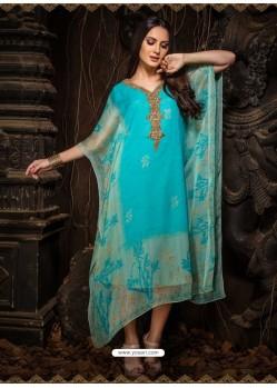 Turquoise Stunning Designer Party Wear Chiffon Kaftan Style Kurti