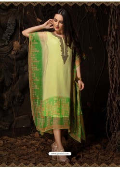 Green Stunning Designer Party Wear Chiffon Kaftan Style Kurti