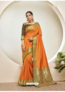 Orange Elegant Designer Party Wear Silk Sari