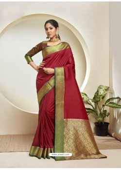 Maroon Elegant Designer Party Wear Silk Sari