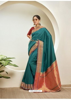 Teal Blue Elegant Designer Party Wear Silk Sari