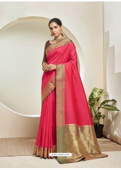 Fuchsia Elegant Designer Party Wear Silk Sari