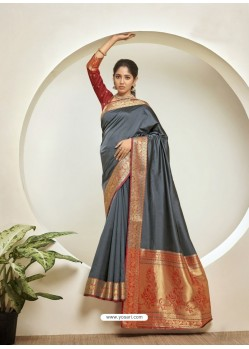 Grey Elegant Designer Party Wear Silk Sari