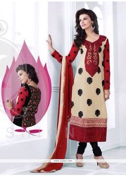 Pristine Cream And Red Georgette Churidar Suit
