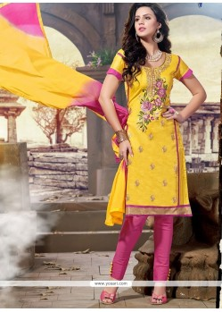 Phenomenal Yellow Chanderi Churidar Designer Suit