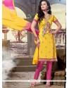 Phenomenal Yellow Chanderi Churidar Designer Suit