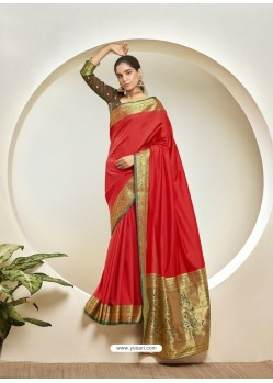 Red Elegant Designer Party Wear Silk Sari
