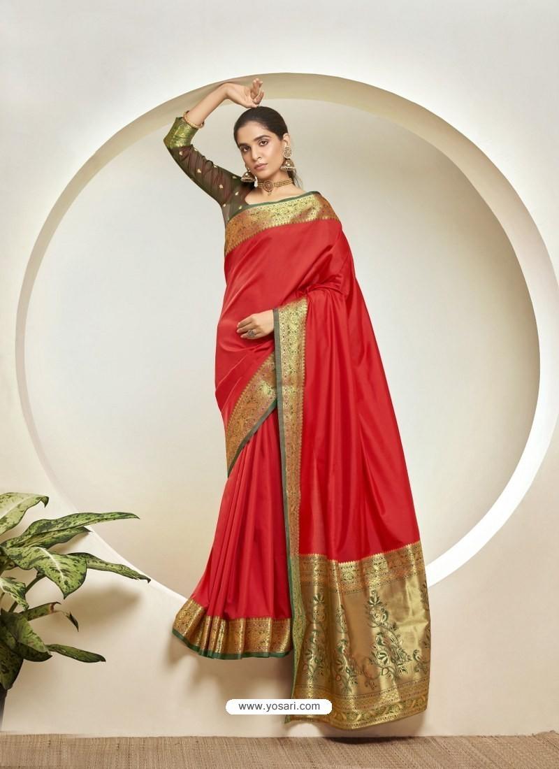 Red Elegant Designer Party Wear Silk Sari