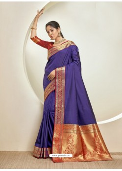 Violet Elegant Designer Party Wear Silk Sari