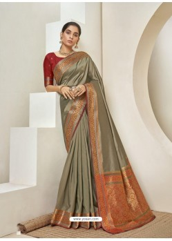 Taupe Elegant Designer Party Wear Silk Sari