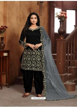 Black Heavy Designer Wedding Wear Art Silk Punjabi Patiala Suit