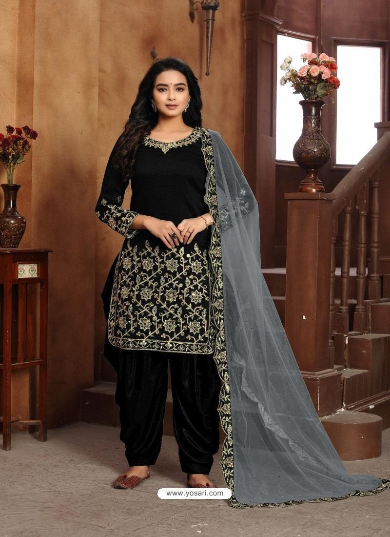 Black Heavy Designer Wedding Wear Art Silk Punjabi Patiala Suit