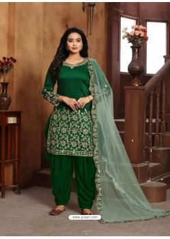 Dark Green Heavy Designer Wedding Wear Art Silk Punjabi Patiala Suit