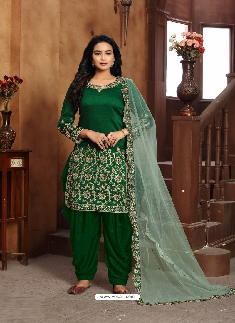 Dark Green Heavy Designer Wedding Wear Art Silk Punjabi Patiala Suit