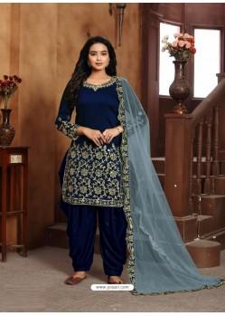 Royal Blue Heavy Designer Wedding Wear Art Silk Punjabi Patiala Suit