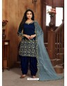Royal Blue Heavy Designer Wedding Wear Art Silk Punjabi Patiala Suit