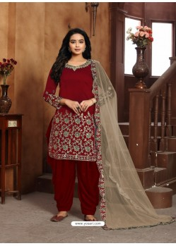 Maroon Heavy Designer Wedding Wear Art Silk Punjabi Patiala Suit