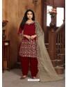 Maroon Heavy Designer Wedding Wear Art Silk Punjabi Patiala Suit