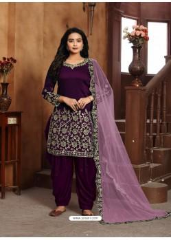 Purple Heavy Designer Wedding Wear Art Silk Punjabi Patiala Suit