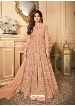 Light Orange Latest Heavy Designer Premium Net Party Wear Anarkali Suit