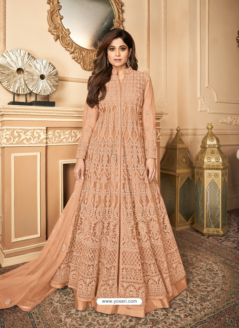 Light Orange Latest Heavy Designer Premium Net Party Wear Anarkali Suit